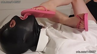 My slave worships and licks my dirty flip flops soles clean - FEMDOM