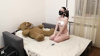 I caught a little sister in a cat costume, could not resist and fucked hard