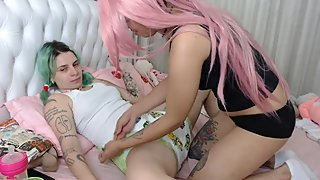 abdl girl gets diapered on live webcam