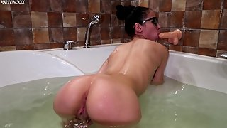 Hot girl washes and plays with a Dildo in the bathroom - MaryVincXXX