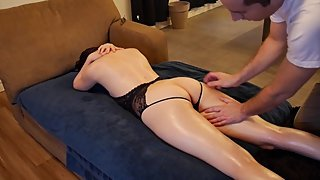 Short hair Cutie with perfect ass gets an oil massage - fingered & facefuck