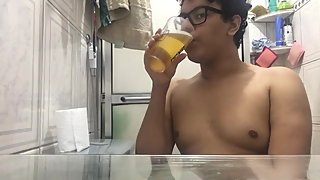 chubby beginner slut pig drinking piss and licking feet