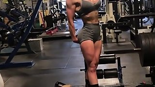 Young Muscle Girl Flexing HARD