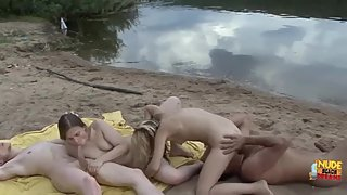 Young Russian girls suck cocks and get fucked outdoors