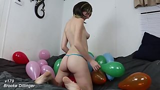 v179 Riding Balloons To POP with ASS Teen College Girl Balloon Popping Ass