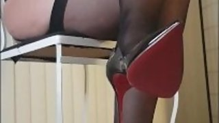 Boob spanking in sexy lingerie sheer stockings and louboutins - submissive