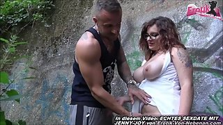 german normal girl next door with glasses outdoor threesome mmf