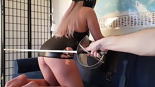 Naughty girl in latex dress spanked - college athlete fencing NCAA sabre