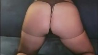 Hard belt spanking in sheer pantyhose and sexy high heels - Loud moaning