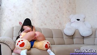 SEX WITH A BEAR. MASTURBATING WITH A TOY. BITCH WANTS SEX. RUSSIAN TEEN