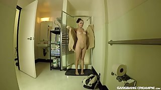 Shower spying on Tiffany after she has been in her first Gangbang Creampie