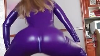 STEP SISTER TRYS ON PURPLE LATEX COSPLAY SUIT AND TWERKS HER PAWG