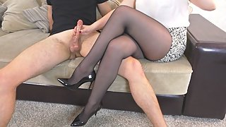 Teen School Teacher in Pantyhose High Heels Femdom Hadnjob after School