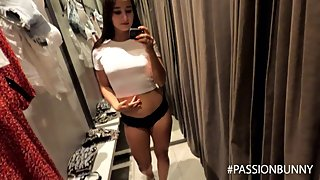 Quik fingering in fitting room with horny girl