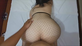 Latina with big ass fucked with fishnets