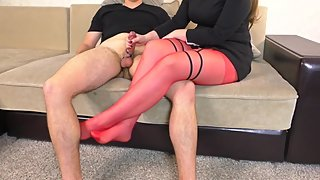 Teen School Teacher in Red Pantyhose Tease and Femdom Handjob after School