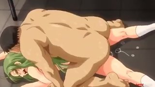 Green-haired anime girl drilled by fat man
